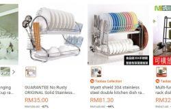 Ada banyak rak pinggan mangkuk berharga murah di website eCommerce Lazada Malaysia
