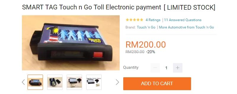 Alat smart tag ada dijual di website eCommerce Lazada Malaysia