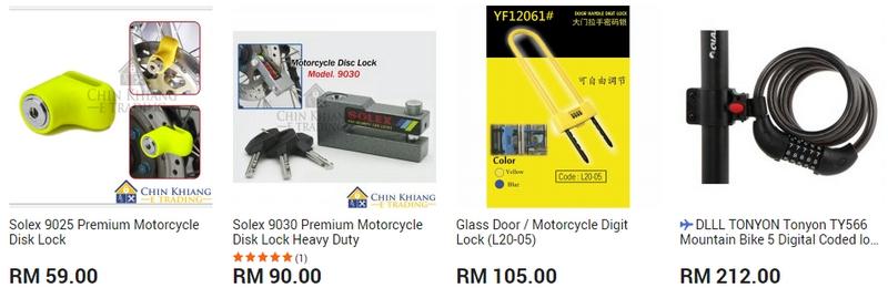 Anda juga boleh mencari kunci motosikal lock di website 11Street Malaysia