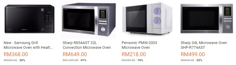 Antara jenama microwave yang popular di Malaysia di website eCommerce Lazada Malaysia