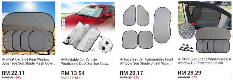 Car sun shade untuk kereta anda boleh anda dapatkan di website 11Street Malaysia