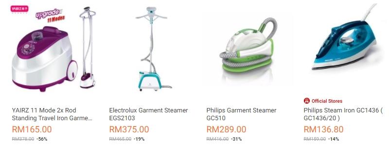 Contoh jenis jenis seterika wap yang banyak dijual di website eCommerce Lazada Malaysia