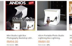 Contoh sebenar mini studio box yang banyak dijual di website eCommerce Lazada Malaysia