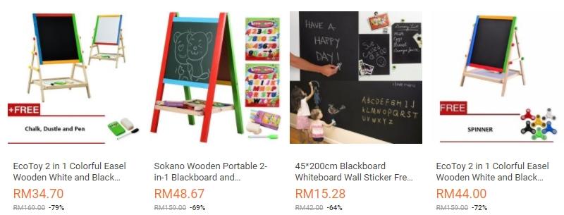 Contoh sebenar rupa bentuk papan hitam mini untuk kanak kanak belajar