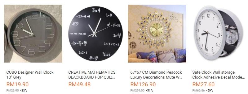 Pelbagai jenis rekaan jam dinding yang ada dijual di website eCommerce Lazada Malaysia