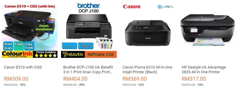 Printer brand terkenal harga murah ada banyak di website eCommerce Lazada Malaysia