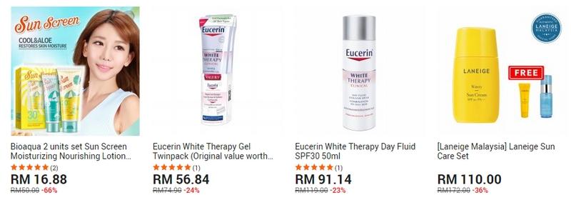 Produk sun block kulit untuk menahan sinaran matahari terbaik di website 11Street Malaysia