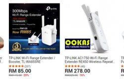 Wifi range extender juga di sebut sebagai wifi amplifier di laman web 11Street Malaysia