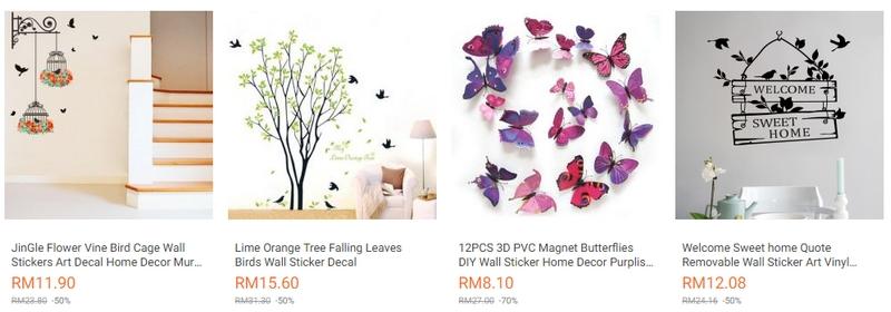 Ada banyak pilihan pelekat dinding rumah jenis sticker yang cantik di website eCommerce Lazada Malaysia