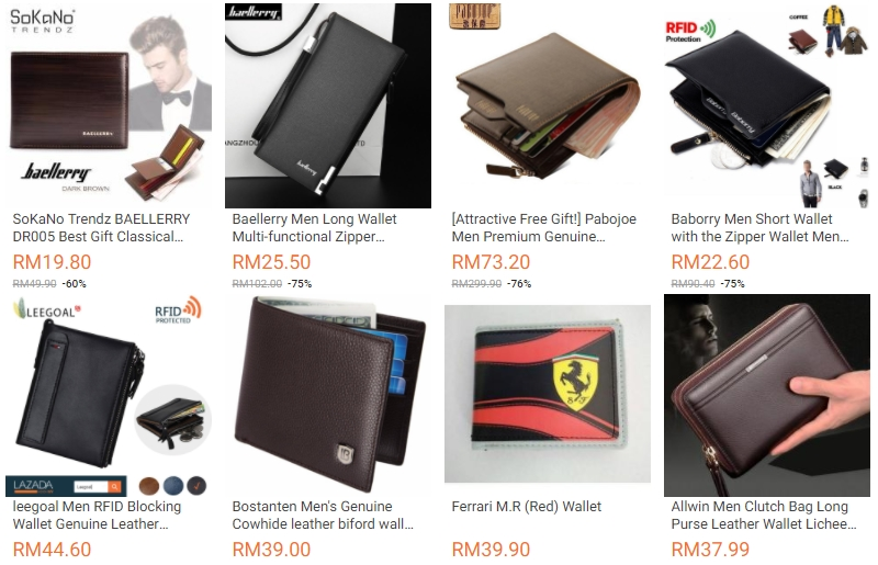 Antara corak rekaan beg dompet lelaki yang ada dijual di website eCommerce Lazada Malaysia