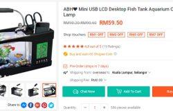 Contoh akuarium mini untuk ikan kecil yang mudah dijaga ada dijual di laman web Shopee Malaysia