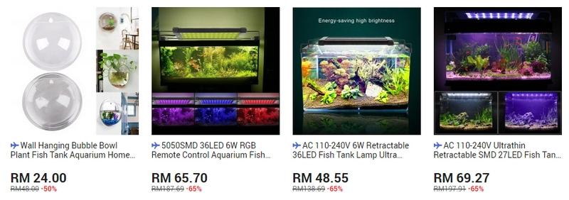 Contoh balang akuarium ikan yang cantik yang dijual melalui website 11Street Malaysia
