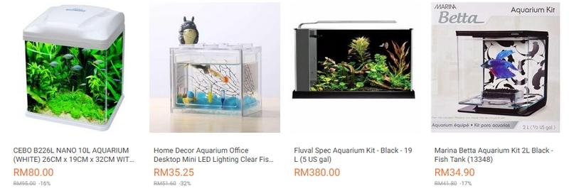 Contoh tank aquarium mini yang ada dijual di website eCommerce Lazada Malaysia