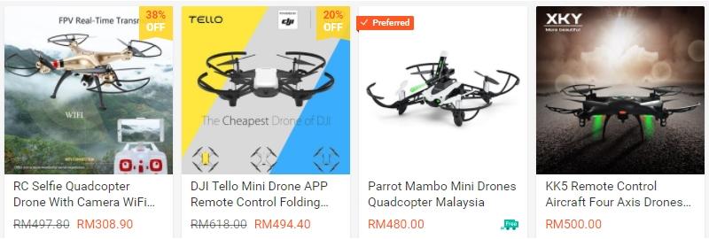 Dapatkan drone jenis quadcopter bawah RM500 di website Shopee Malaysia
