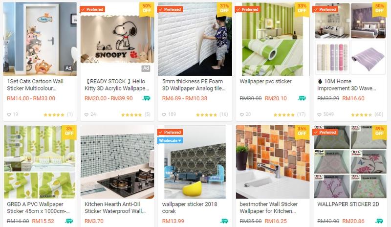 Memang cantik dan kiut jika anda melihat tawaran pelekat dinding rumah di website Shopee Malaysia ini