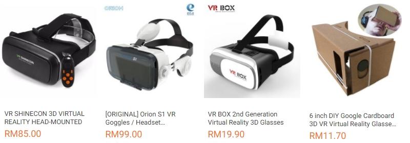 Pelbagai jenis kategori produk headset vr murah bawah RM100 dijual di website eCommerce Lazada Malaysia
