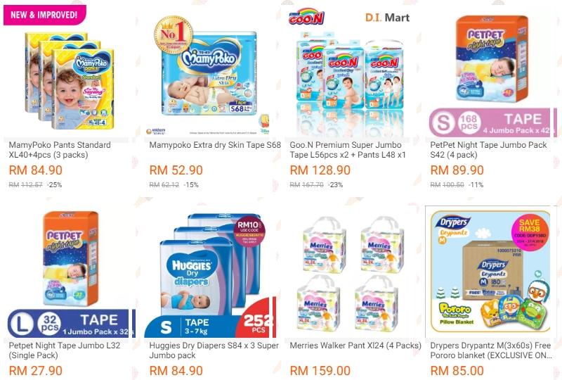 Promosi pampers lampin pakai buang yang murah jika anda beli secara bundle banyak di Lazada Malaysia