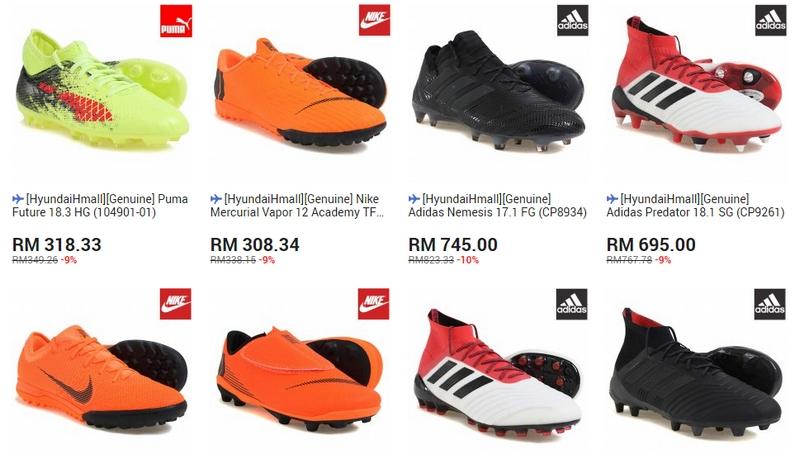 Senarai brand jenama kasut bola sepak yang tahan lasak ada di jual di website 11Street Malaysia