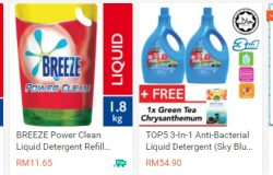 Tawaran harga sabun pencuci pakaian yang murah di website Shopee