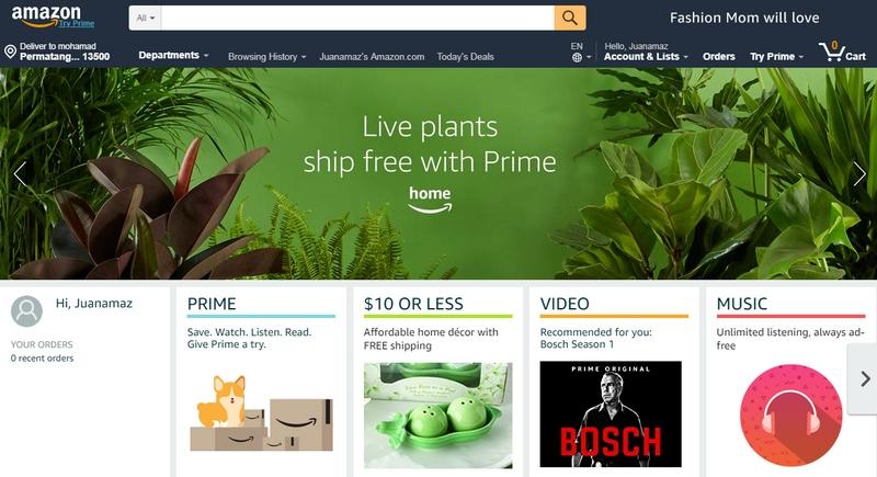 Amazon adalah salah satu website ecommerce luar negara dari Amerika