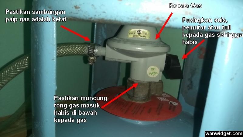 Sambungan pemasangan antara kepala gas dengan tong gas memasak