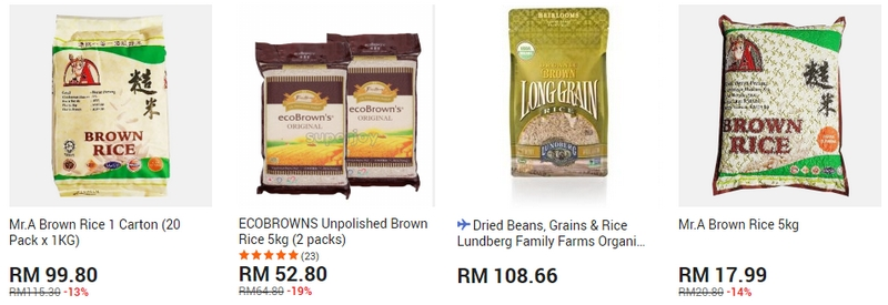 Contoh beras perang yang ada dijual secara online