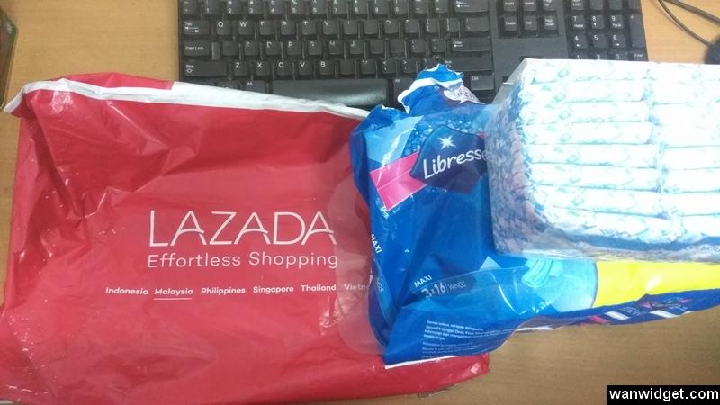 Sanitary pad wanita yang dibeli dari Lazada sudah sampai