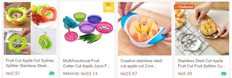 Dapatkan alat pemotong buah seperti Apple cut di internet