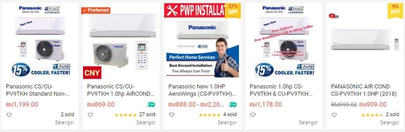 penghawa dingin Panasonic 1hp non inverter
